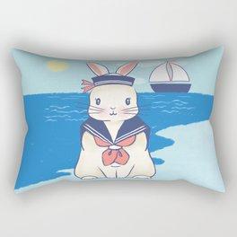 Sailor Bunny At The Beach Rectangular Pillow