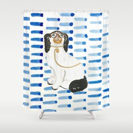 BESPECTACLED ON BLUE -Right Facing Shower Curtain