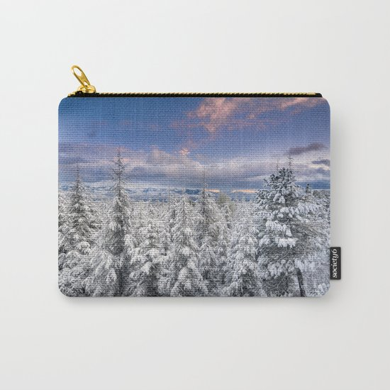 """Mountain light"". Snowy forest at sunset Carry-All Pouch"