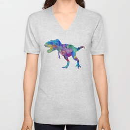 Dinosaur T-Rex Tyrannosaurus Rex Art Animals Nursery Decor Kids Room Watercolor Print Blue Purple Di Unisex V-Neck