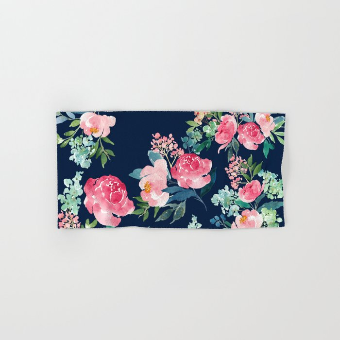 Navy and Pink Watercolor Peony Hand & Bath Towel