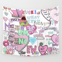 girly Wall Tapestries featuring Girly Collage by Pink Berry Patterns