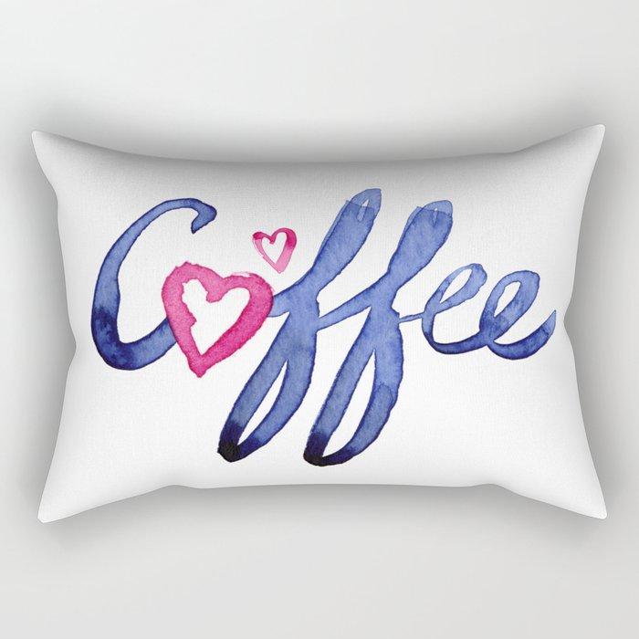 Coffee Lover Typography Rectangular Pillow