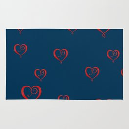 Polka Heart Party, Blue Rug