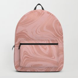 Elegant Rose Gold Pink Metallic with Marble Abstract Pattern Backpack