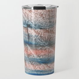 Brown blue streaked abstract Travel Mug