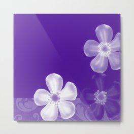 Retro 70s Flowers Purple Metal Print