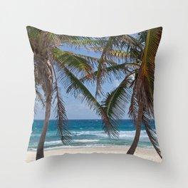 Serene Caribean Beach Scene Throw Pillow