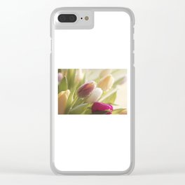 Bouquet of tulips spring flowers in pastel Clear iPhone Case