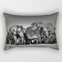 Elephant Herd Circling Rectangular Pillow