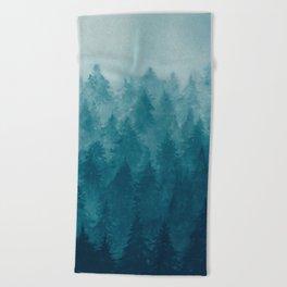 Misty Pine Forest Beach Towel