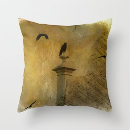 Musical Crows Throw Pillow