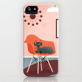 Midcentury Coral Decor With Black Cat And Gold Fish iPhone Case