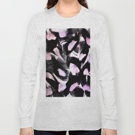 black, pink and white abstract painting Long Sleeve T-shirt