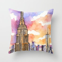 Empire State Building ink & watercolor illustration Throw Pillow
