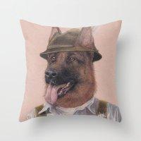 german Throw Pillows featuring German Shepherd by Rachel Waterman