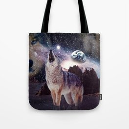 Wolf in the moon howling at the earth Tote Bag