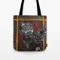 louis armstrong Tote Bags featuring Louis Armstrong by Ray Stephenson