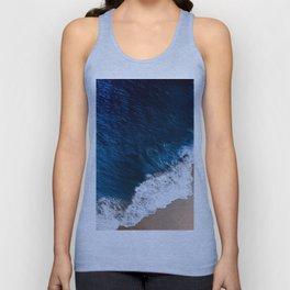 Prussian Blue Water Meets Sand Beach Aerial Landscape Unisex Tank Top