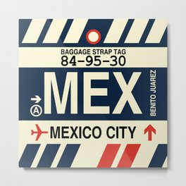 MEX Mexico City • Airport Code and Vintage Baggage Tag Design Metal Print