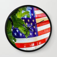 flag Wall Clocks featuring Flag by Jodi Kassowitz Photography