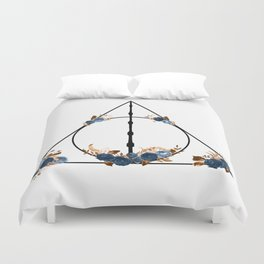 Deathly Hallows in Blue and Brown Duvet Cover
