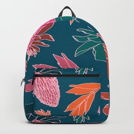 Tropical Ginger Plants in Coral + Teal Backpack