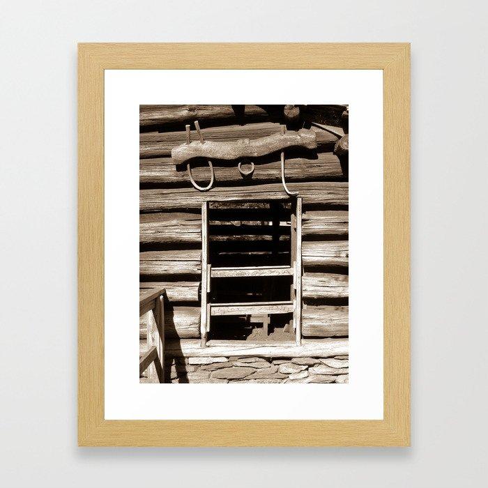 Cabin Window (Sepia) Framed Art Print
