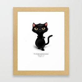 yoga cat warrior 2 Framed Art Print