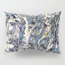 Inclement Weather (Gray and Blue Abstract Marks) Pillow Sham