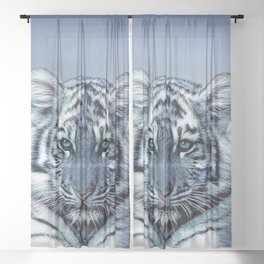 Blue White Tiger Sheer Curtain