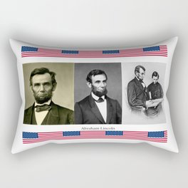 Three portraits of Abraham Lincoln with patriotic patterns Rectangular Pillow