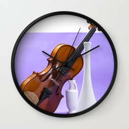 Still life with violin and white vases on a purple Wall Clock