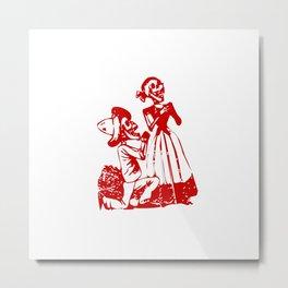 Skeleton Man and Woman Metal Print