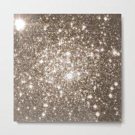 Taupe Sparkle Stars Metal Print