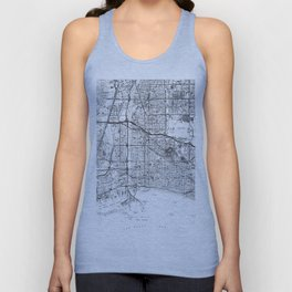 Vintage Map of Long Beach California (1964) BW Unisex Tank Top