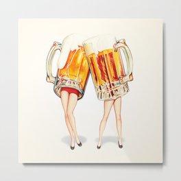 Cheers! Beer Pin-Ups Metal Print