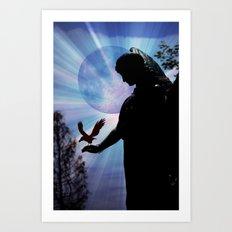 The Angel, Moon & Crow - JUSTART © Art Print