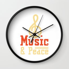 Music & Peace Band Classic Genre Flat Cool Music Shirt For Musicians Musician T-shirt Design Notes Wall Clock