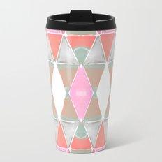 Art Deco Triangles Coral Grey Travel Mug