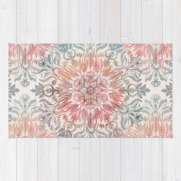 Autumn Spice Mandala in Coral, Cream and Rose Rug