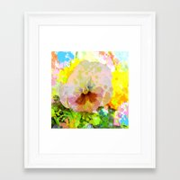 water colour Framed Art Prints featuring Artistic Water colour Pansy by thea walstra