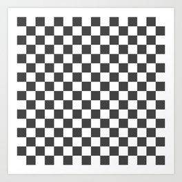 Gingham Dark Slate Grey Checked Pattern Art Print