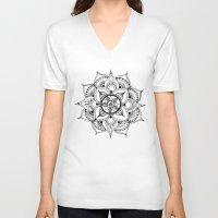 henna V-neck T-shirts featuring Henna Mandala by Ava Elise