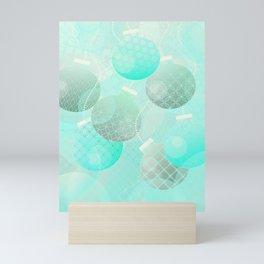 Silver and Mint Blue Christmas Ornaments Mini Art Print