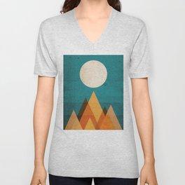 Full moon over Sahara desert Unisex V-Neck