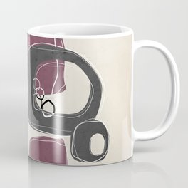 Retro Abstract Design in Charcoal Grey and Mulberry Coffee Mug