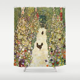 Gustav Klimt Garden Path With Chickens Shower Curtain