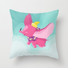 The Flying Elephant Throw Pillow