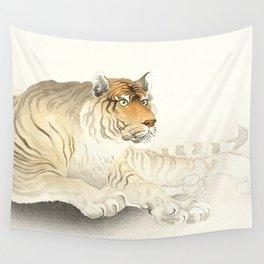Resting Tiger - Vintage Japanese woodblock print Art Wall Tapestry